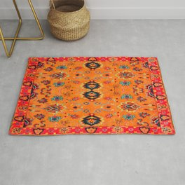 N123 - Orange Boho Oriental Moroccan Fabric Style Artwork Rug