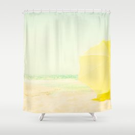 beach yellow Shower Curtain
