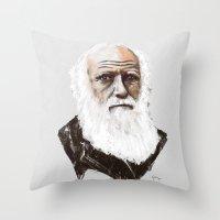 darwin Throw Pillows featuring Darwin - great man by graphicbrain