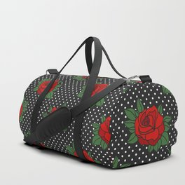 Rockabilly style roses on white polka dots pattern Duffle Bag