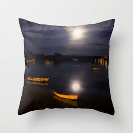 Full moon on Biscay Bay Throw Pillow