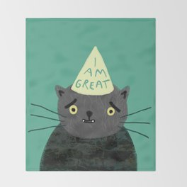 """Fat Olive """"I Am Great"""" Throw Blanket"""