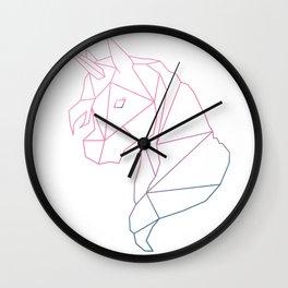 Navy & Pink Geometric Unicorn Wall Clock