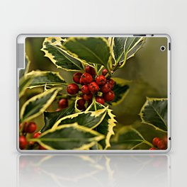 Christmas Holly with Red Berries Laptop & iPad Skin