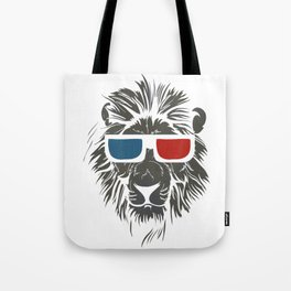 Lion with 3D sunglasses Tote Bag