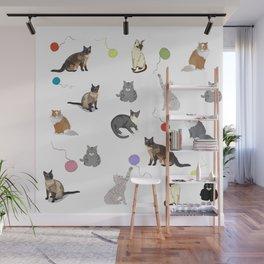 Cheeky cats pattern decor. Wall Mural