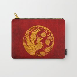 Traditional Yellow and Red Chinese Phoenix Circle Carry-All Pouch