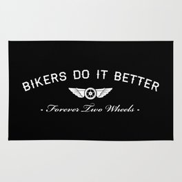 BIKERS DO IT BETTER FOREVER WHEEL AND WINGS Rug