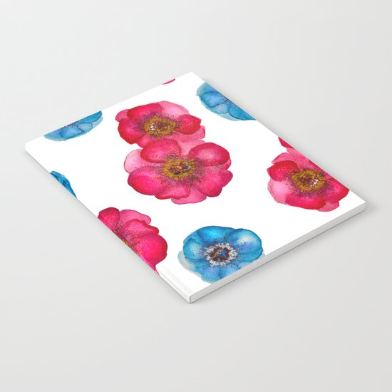 Pink and blue Anemones pattern Notebook