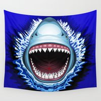 jaws Wall Tapestries featuring Shark Jaws Attack by BluedarkArt