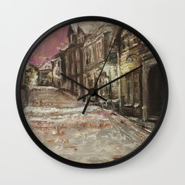 Old City Print Original Oil Painting on Canvas Wall Clock