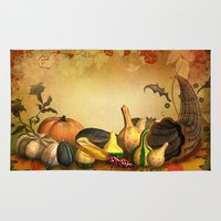 thanksgiving Area & Throw Rugs featuring Thanksgiving Harvest by FantasyArtDesigns