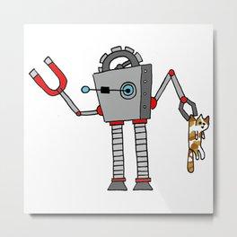 Robo-Cat Metal Print