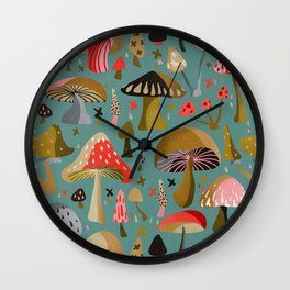 Mushroom Collection – Mint Wall Clock
