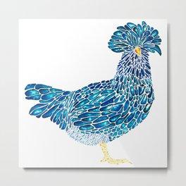 Indigo Polish Chicken Metal Print