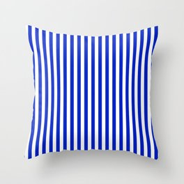 Cobalt Blue and White Vertical Deck Chair Stripe Throw Pillow