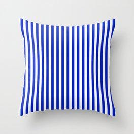 Cobalt Blue and White Vertical Deck Chair Stripe Throw Pillow
