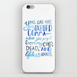 My Beloved Oxford Comma - Blue Lettering iPhone Skin
