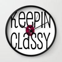 classy Wall Clocks featuring Classy by Bunhugger Design