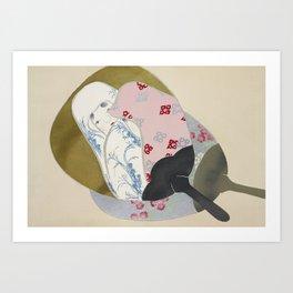 Girl in fan Art Print