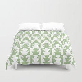 Art Deco Jagged Edge Pattern Sage Green Duvet Cover