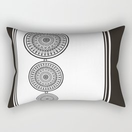 Black and White Mandala - Boho Style ink art, Three Mandala Design Rectangular Pillow