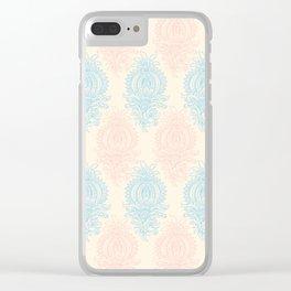 Vintage ivory coral pastel blue floral damask Clear iPhone Case
