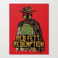 red dead redemption Canvas Prints featuring Red Fett Redemption by MeleeNinja