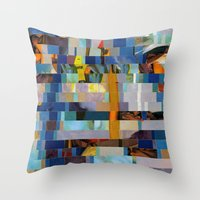 transformer Throw Pillows featuring Up The Creek Without A Poodle (Provenance Series) by Wayne Edson Bryan