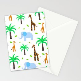 Giraffe and elephant in the savanna Stationery Cards