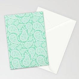 Paisley (White & Mint Pattern) Stationery Cards