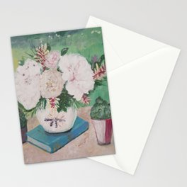 still life, painting, flowers, peony, book, succulents Stationery Cards