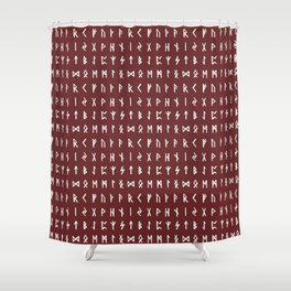 Nordic Runes // Monarch Red Shower Curtain