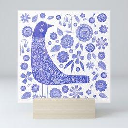 Nordic Bird Blue Mini Art Print