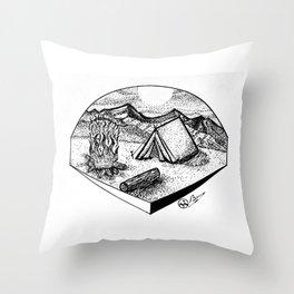 """""""Camp Sweet Camp"""" Nature Camping Original Artwork, Tent Campfire Wall Art Throw Pillow"""