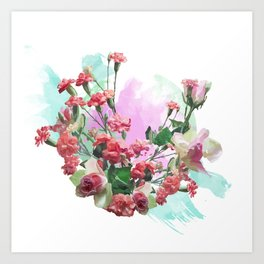 Rosas y claveles Art Print