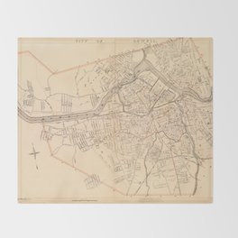 Vintage Map of Lowell MA (1904) Throw Blanket