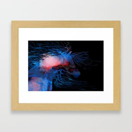 Abstract Wild Horse Red White And Blue Framed Art Print