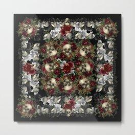 Skulls and Roses Bandana on Black Metal Print