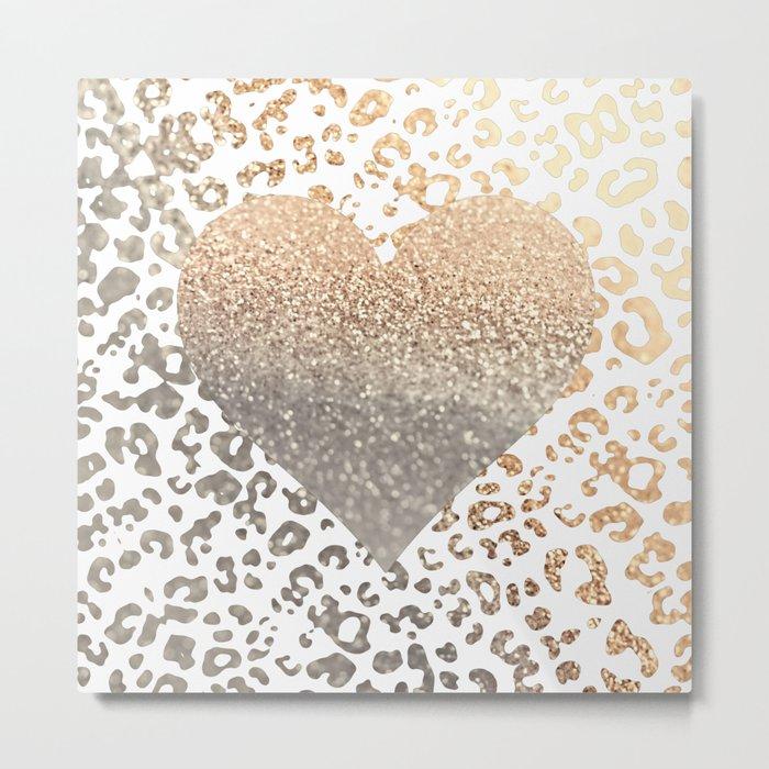 GOLD HEART LEO Metal Print