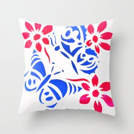 Butterfly and flower screenprint Throw Pillow