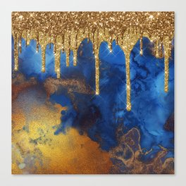 Gold Rain on Indigo Marble Canvas Print
