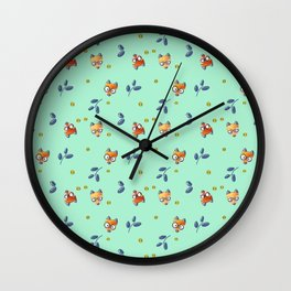 Foxy Nerd Pattern Wall Clock