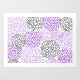 Lavender gray dahlias floral art Art Print