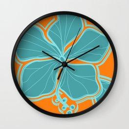 Kailua Hibiscus Hawaiian Engineered Floral Wall Clock