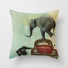 Looking for Tiny _ elephant on a red VW beetle Throw Pillow