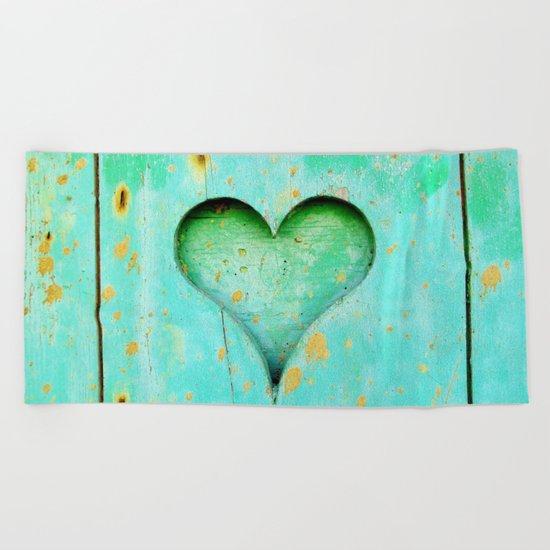 Blue Peeling Paint Wood Heart Beach Towel