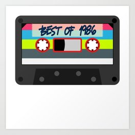 "Here's A Great 80's design A Plain 80's Design Saying ""Best Of 1986"" Tape T-shirt Design Vintage Art Print"