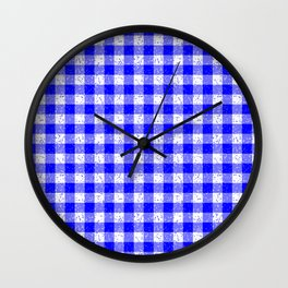 Gingham Blue and White Pattern Wall Clock