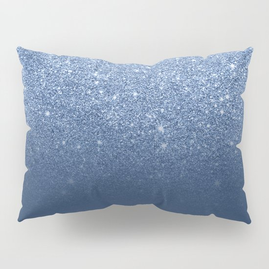 Modern trendy navy peony faux glitter ombre pattern Pillow Sham by Girly Trend Society6